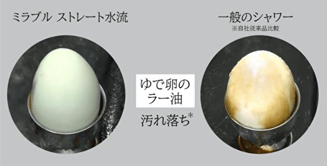 ラー油を垂らしたゆで卵でミラブルプラスの洗浄実験