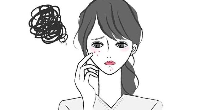ニキビできて憂鬱そうな女性のイラスト