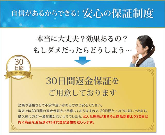 30日間返金保証の説明の画面ショット