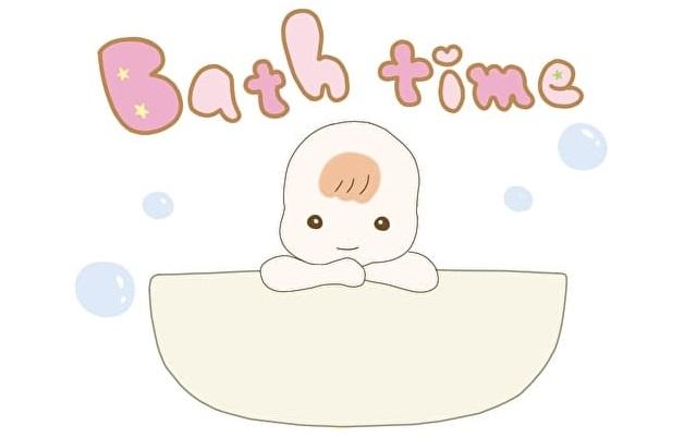 赤ちゃんがお風呂に入っているイラスト
